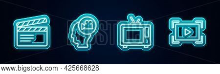 Set Line Movie Clapper, Head With Camera, Retro Tv And Online Play Video. Glowing Neon Icon. Vector