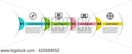 Set Line Cd Or Dvd Disk, Monitor With 8k, Screen Tv And Film Reel. Business Infographic Template. Ve