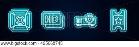 Set Line Movie Spotlight, Hd Movie, Tape, Frame, Media Projector And Cinema Ticket. Glowing Neon Ico