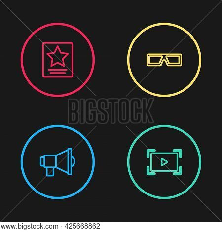 Set Line Megaphone, Online Play Video, 3d Cinema Glasses And Hollywood Walk Of Fame Star Icon. Vecto