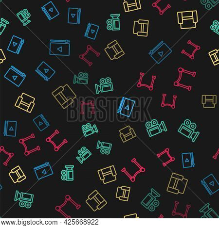 Set Line Online Play Video, Cinema Camera, Chair And Rope Barrier On Seamless Pattern. Vector