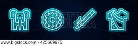 Set Line Elephant, Chakra, Bamboo Flute Indian And Indian Man Dress. Glowing Neon Icon. Vector