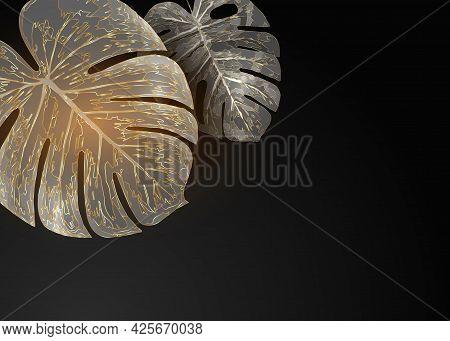 Golden Monstera Leaves Creatively Arranged On Plain Black Background. Luxurious Trendy Border Frame