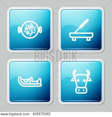 Set Line Chicken Tikka Masala, Scented Spa Stick, Indian Shoes And Cow Icon. Vector