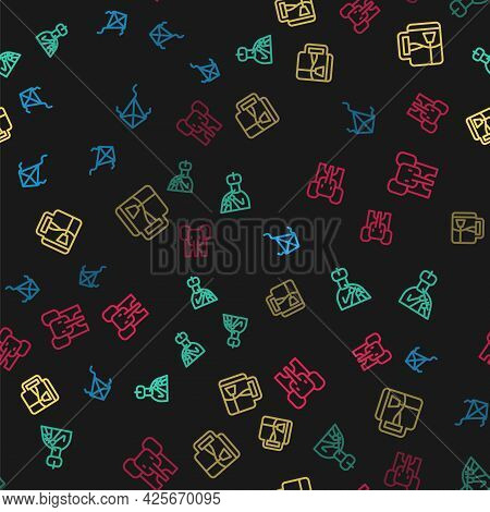 Set Line Kite, Indian Man Plays Flute, Cup Of Tea With Tea Bag And Elephant On Seamless Pattern. Vec