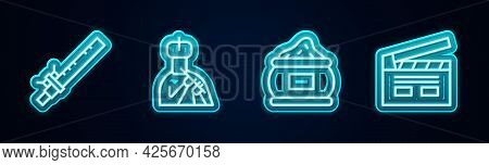Set Line Bamboo Flute Indian, Indian Man Plays, And Bollywood Cinema. Glowing Neon Icon. Vector