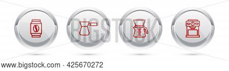 Set Line Bag Of Coffee Beans, Coffee Turk, Pour Over Maker And Machine. Silver Circle Button. Vector