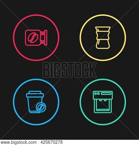 Set Line Coffee Cup To Go, Machine, Pour Over Coffee Maker And Street Signboard Icon. Vector
