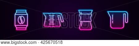 Set Line Bag Of Coffee Beans, Coffee Pot, Pour Over Maker And . Glowing Neon Icon. Vector