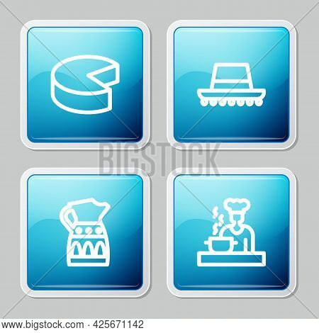 Set Line Cheese, Spanish Hat, Sangria Pitcher And Cook Icon. Vector