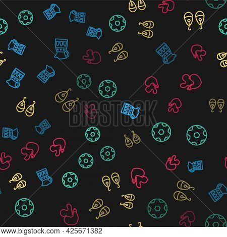 Set Line Sangria Pitcher, Football Ball, Earrings And Spanish Wineskin On Seamless Pattern. Vector