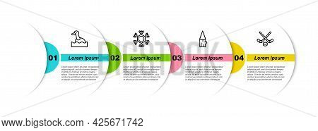 Set Line Flying Duck, Snowflake, Wooden Log And Ice Hockey Sticks And Puck. Business Infographic Tem