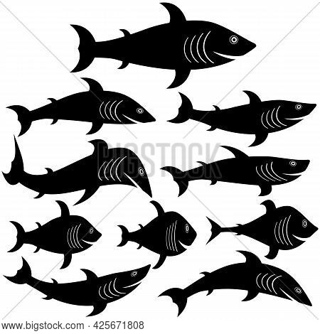 A Set Of Fish Silhouette Icons Of Different Shapes And Sizes. Vector Illustrations And Drawings On W
