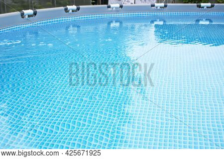 Swimming Pool Bottom Caustics Ripple And Flow With Waves Background