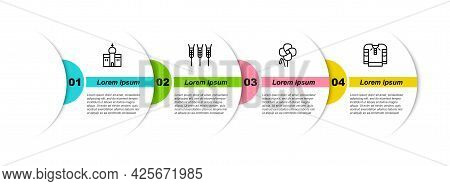 Set Line Church Building, Wheat, Poppy Flower And Embroidered Shirt. Business Infographic Template.