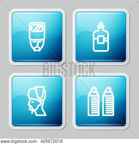 Set Line Ukrainian Cossack, Bottle Of Vodka, And Two Towers Dnipro Icon. Vector