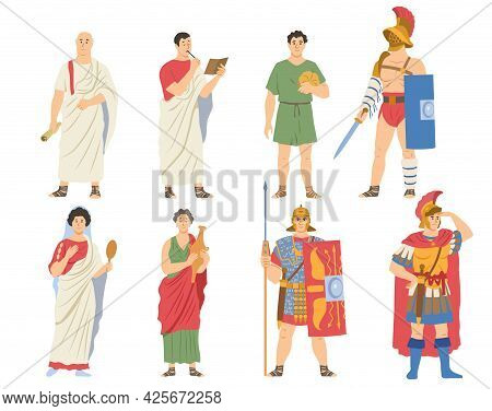 Roman Citizens, Warriors Collection. Male And Female Characters In Traditional Clothes. Ancient Rome