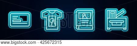 Set Line Business Card, T-shirt, Photo Album Gallery And Copy Machine. Glowing Neon Icon. Vector
