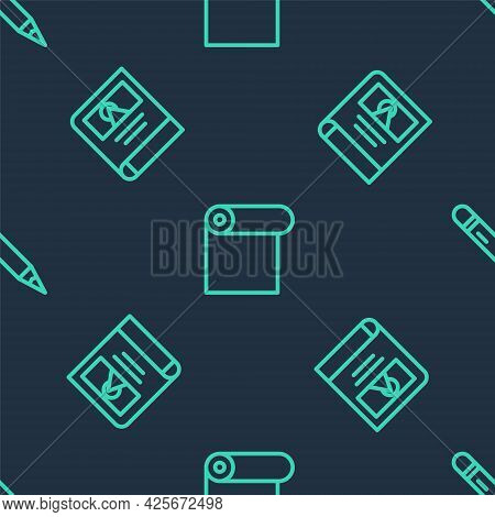 Set Line Roll Of Paper, Photo Album Gallery And Pencil With Eraser On Seamless Pattern. Vector