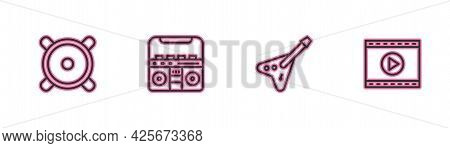 Set Line Stereo Speaker, Electric Bass Guitar, Home Stereo With Speakers And Online Play Video Icon.