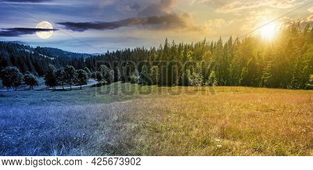Day And Night Time Change Concept Of Mountainous Countryside Panorama. Trees On The Meadow Along The