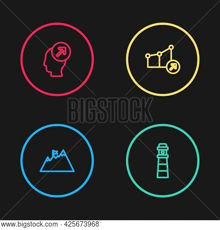 Set Line Mountains With Flag, Lighthouse, Financial Growth And Head Hunting Concept Icon. Vector