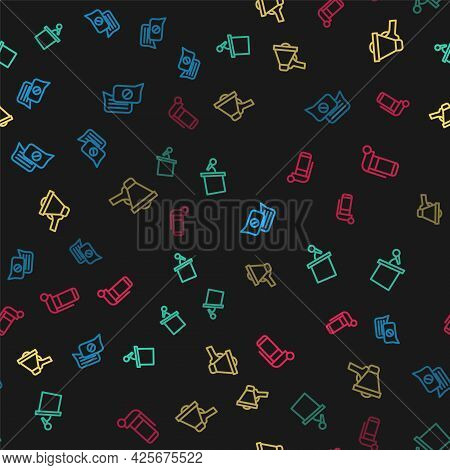 Set Line Speech Bubble Chat, Stage Stand Or Tribune, Megaphone And Hand Grenade On Seamless Pattern.