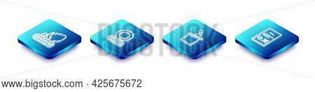 Set Isometric Line Lying Burning Tires, , Stage Stand Or Tribune And Poll Document Icon. Vector