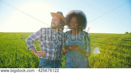 Caucasian Male And Multiracial Female Engineers Using Digital Tablet While Inspecting Greenhouse Org