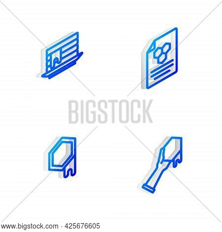 Set Isometric Line Honeycomb, Stack Of Pancakes, And And Hand Icon. Vector