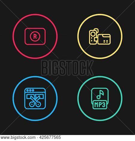Set Line Video Recorder Or Editor, Mp3 File, Cinema Camera And Record Button Icon. Vector
