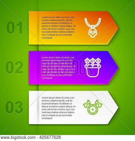 Set Line Necklace Amulet, Quiver With Arrows And Medieval Shield Axe. Business Infographic Template.
