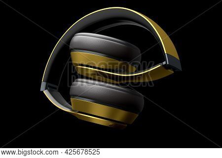Professional Gaming Headphones Isolated On Black Background. 3d Rendering Of Over-ear Headphones And