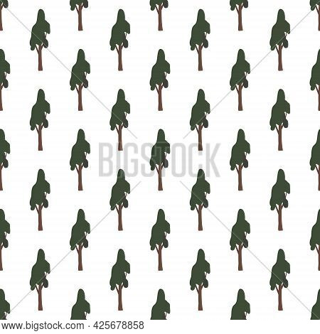 Seamless Pattern With Green Trees. Forest Plants, Natural Forest Print