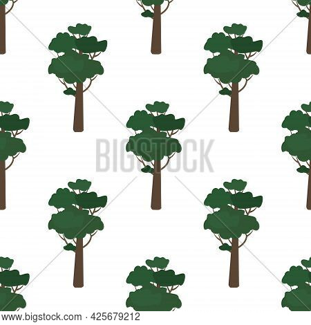 Seamless Pattern With Green Trees. Forest Plants, Natural Thicket Print