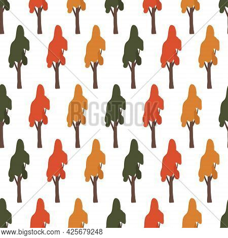 Seamless Pattern With Green, Red And Orange Trees. Forest Autumn Plants, Nature Print For Wrapping P