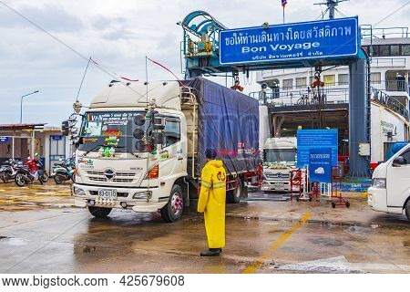 Colorful Thai Truck Leaves The Ferry On Koh Samui Thailand.