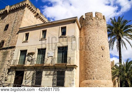 Elche, Alicante, Spain- May 4, 2021:altamira Palace Surrounded By Palm Trees In The Morning In Elche
