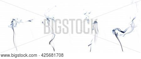 Isolated Steam Set. Blur  Steam Mist Cloud, Abstract Fog Or Black Smoke Group Isolated On White Back