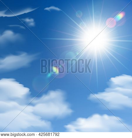 The Sun Shines Bright Light Poster On The Background Of White Clouds And Clear Blue Sky Vector Illus