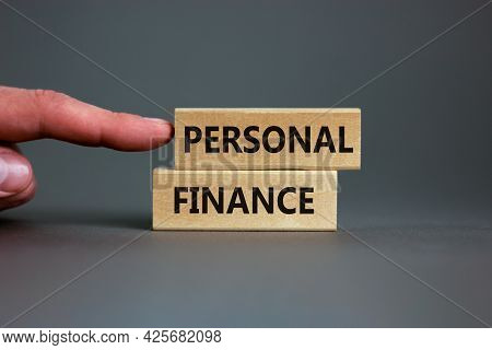 Personal Finance Symbol. Wooden Blocks With Words Personal Finance On Beautiful Grey Background, Cop