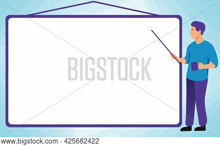 School Instructor Drawing Pointing Stick On Empty Whiteboard While Holding Cup. College Professor Ho
