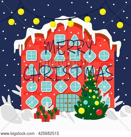 Christmas House With Different Windows, Christmas Tree Vector Illustration. Can Be Used For Greeting