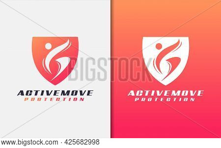 Abstract Shield And Active Move People Silhouette Logo Design. Sport Vector Illustration. Graphic De