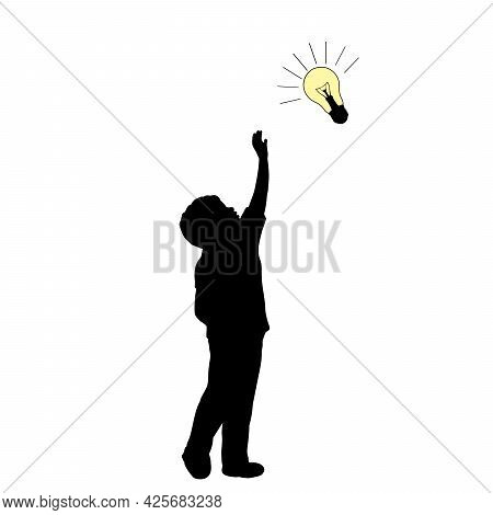 Silhouette Boy Boy Looking For An Idea. Illustration Graphics Icon