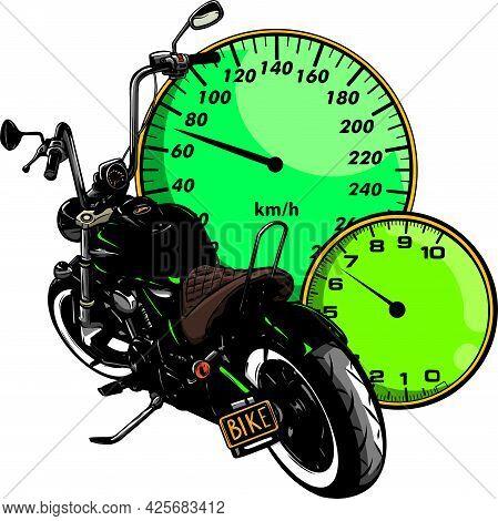 Vector Custom Bike Motorcycle Graphic Poster Illustration.