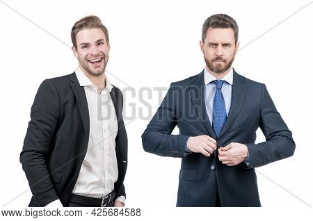 Boss And Employee In Businesslike Suit Isolated On White, Business Fashion