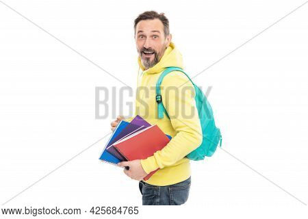 Amazed Man Carry Backpack Hold Notepad Or Workbook For Education Isolated On White, Education.