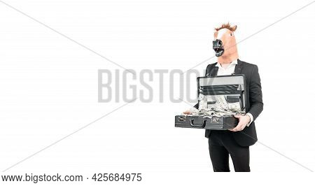 Professional Man Businessman Wear Horse Head Mask Holding Suitcase With Dollar Banknotes, Money.