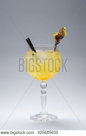 Luxury Gin Hass Orange Cocktail Drink With Ice In Glass On White Background